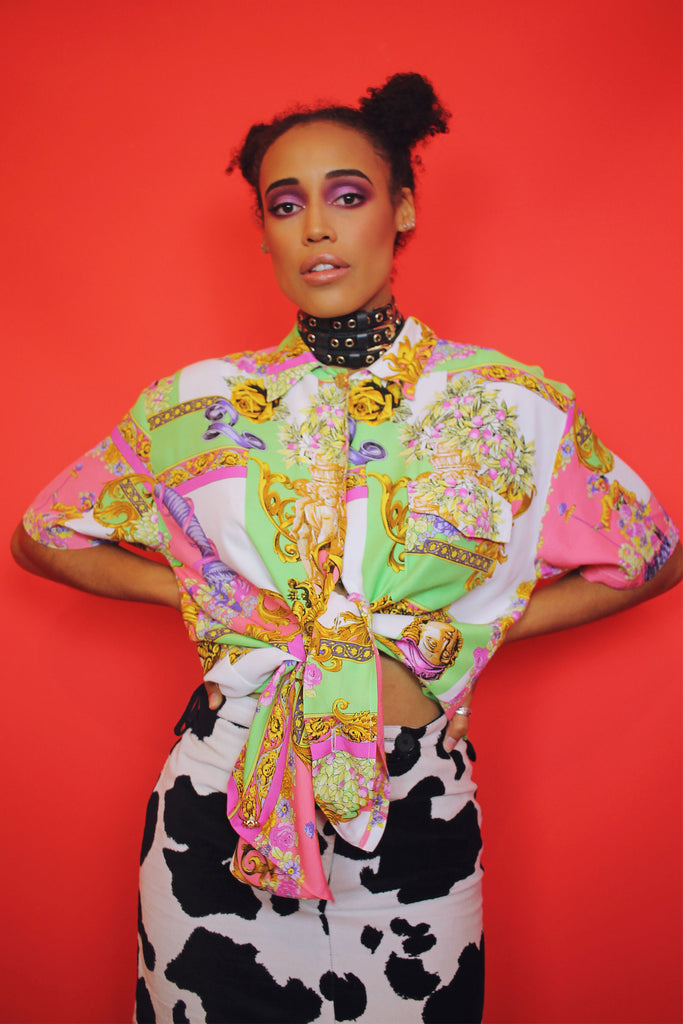 Candy Pink & Lime Green Baroque Shirt
