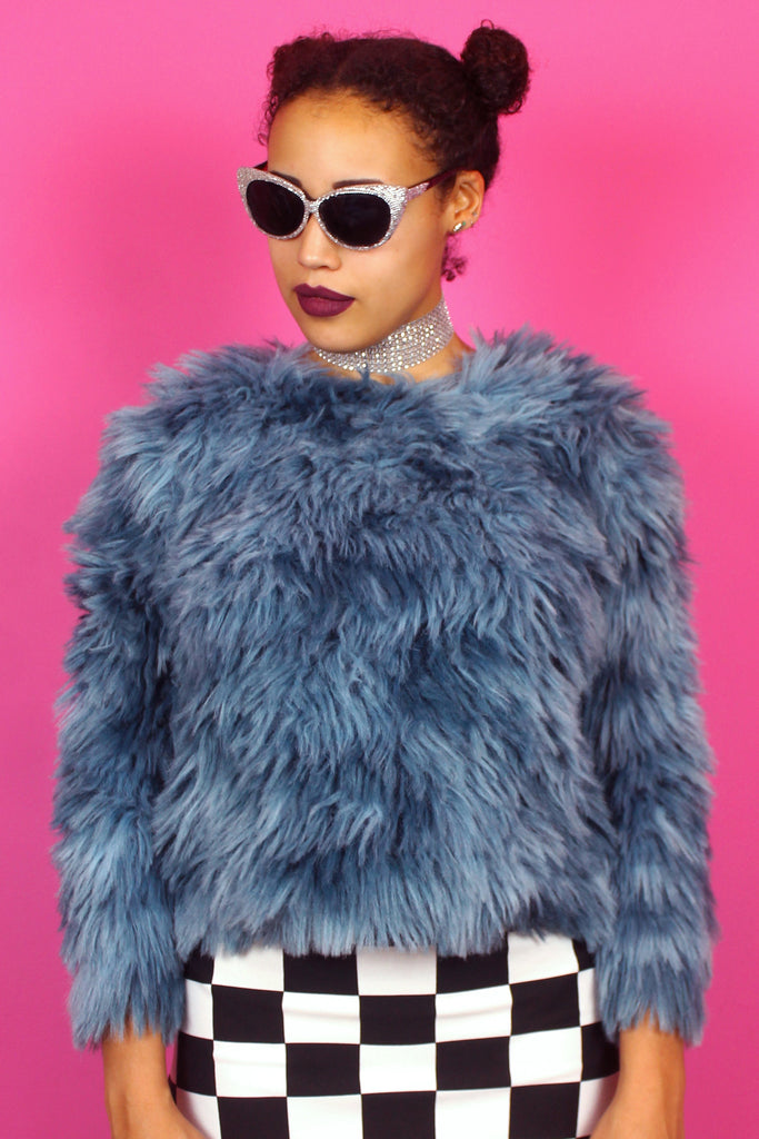 Blue Faux Fur jumper