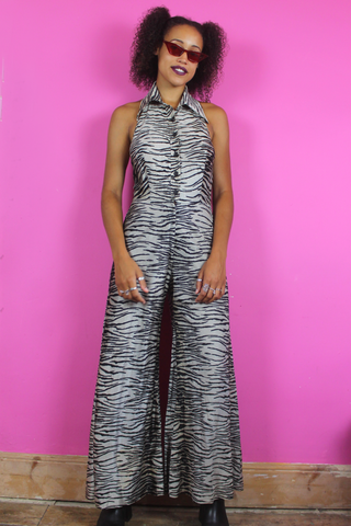 Tiger Print Backless Flared Jumpsuit
