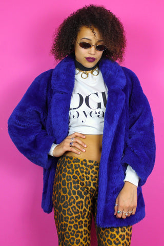 Cobalt Blue Faux Fur Oversized Jacket