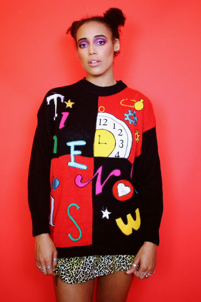 Black & Red Novelty Time Is Now Jumper