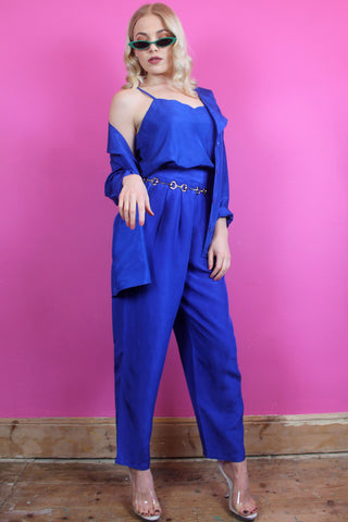 Blue Silk Three Piece Suit