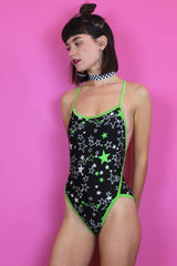 Star Print Lime Green Swimsuit