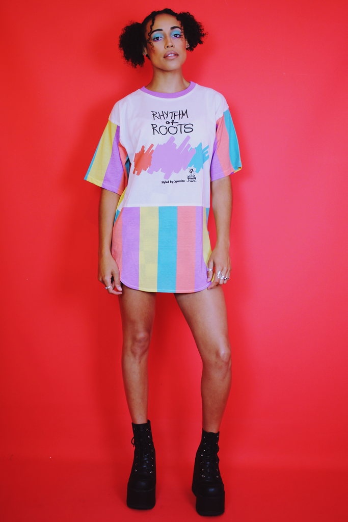 BNWT Rhythm of Roots Pastel Stripe T-Shirt