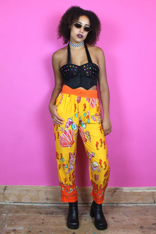 Orange Seashell Printed Trousers