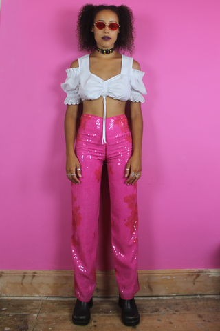 Hot Pink Floral Sequin Trousers