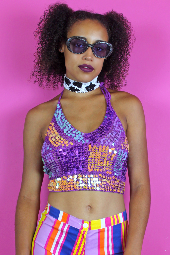 Purple Multicoloured Sequin Crop Top