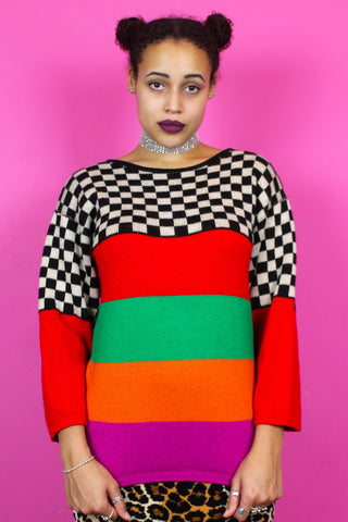 Colourful Stripe + Checkerboard Jumper