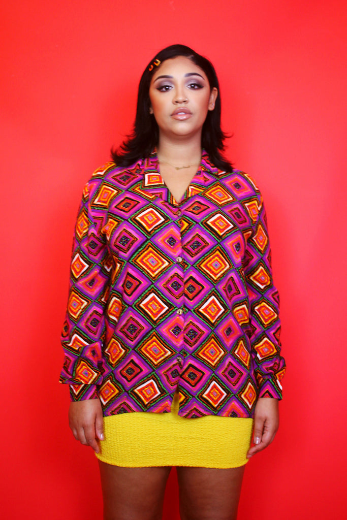 Colourful 70s meets 90s Tile Print Shirt