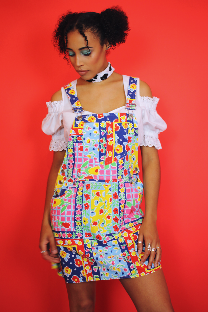 Colourful Floral Patchwork Dungaree Dress