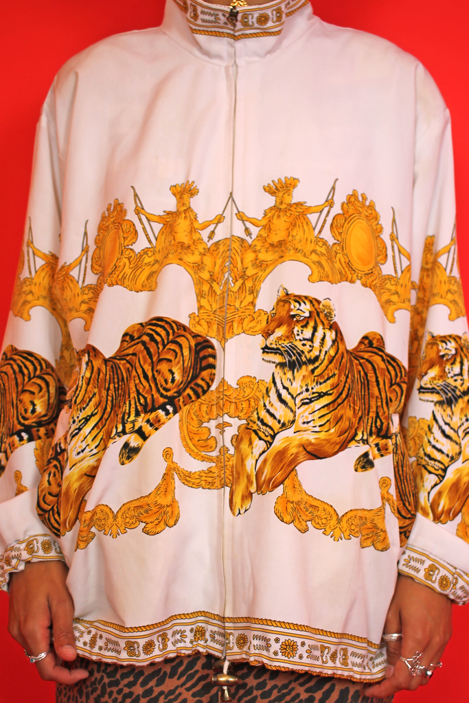 White Tiger Print Bomber Jacket