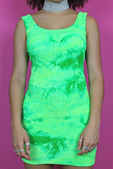 Bright Green Tie Dye Bodycon Dress