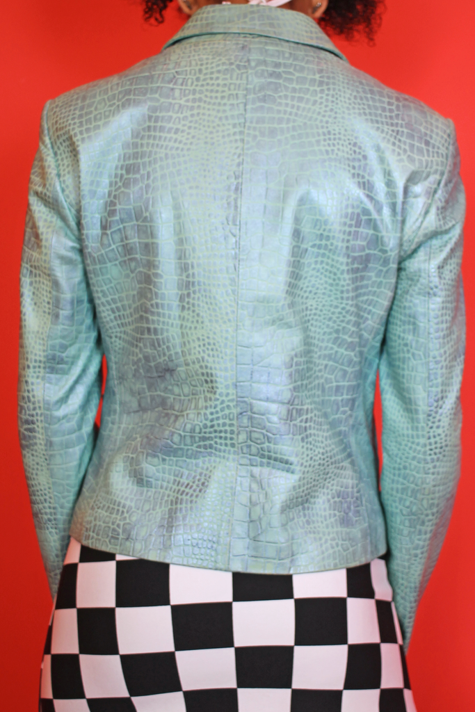 Blue Iridescent Faux Snake Jacket