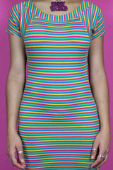 Rainbow Stripe Bodycon Dress