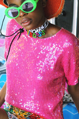 Hot Pink Sequin Top