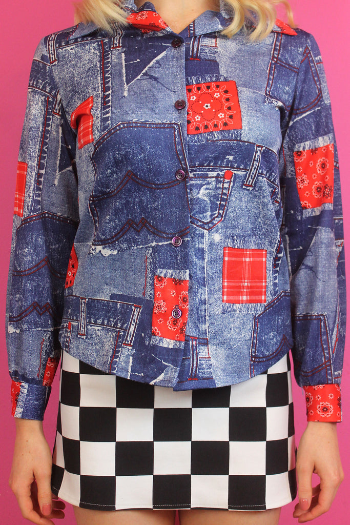 Y2K Denim Print Shirt