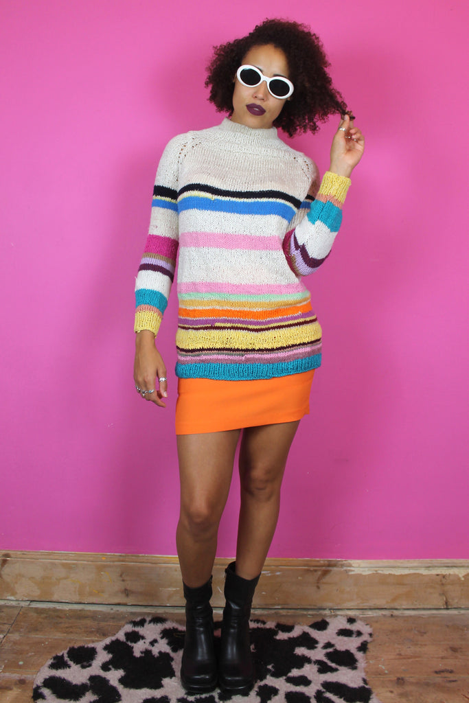 White Knitted Rainbow High Neck Jumper