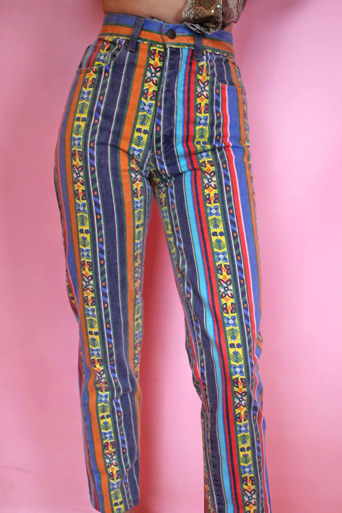Funky Rainbow Stripe Printed Mom Jeans