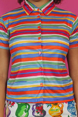 Rainbow Stripe Short Sleeve Shirt