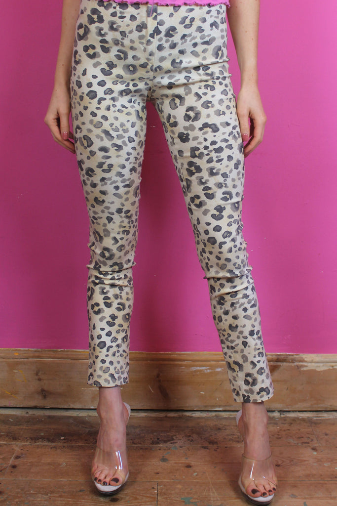 Leopard Print High Waisted Skinny Trousers