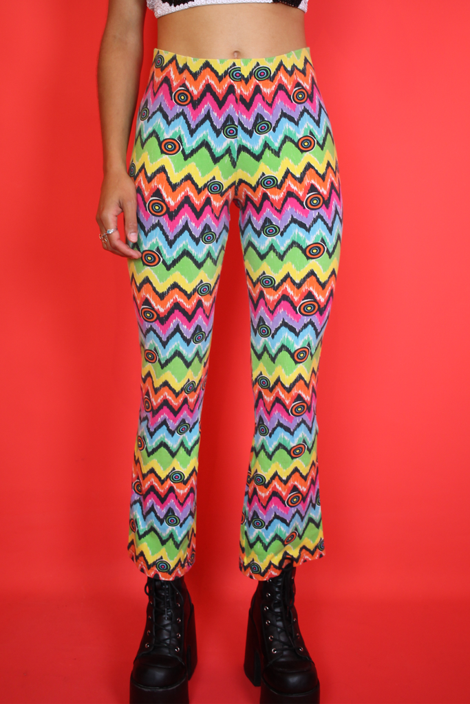 Funky Festival Rainbow Print Flared Leggings