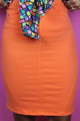 Orange Fitted Pencil Skirt