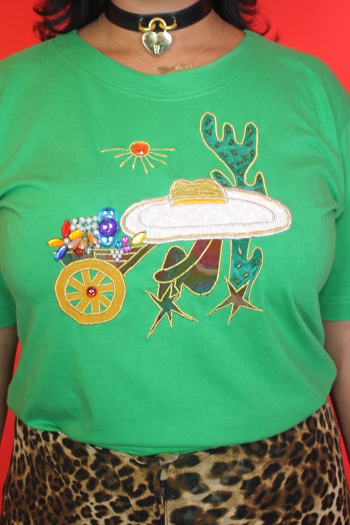Green Cactus Embellished T-Shirt