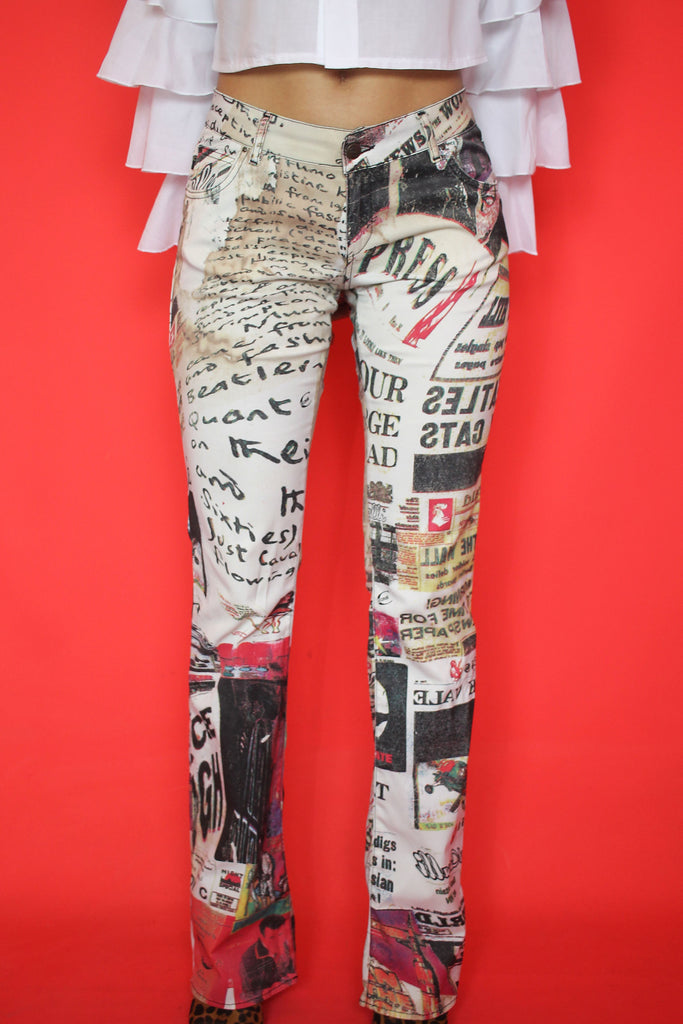 Just Cavalli Newspaper Print Jeans