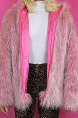Baby Pink Shaggy Faux Fur Jacket
