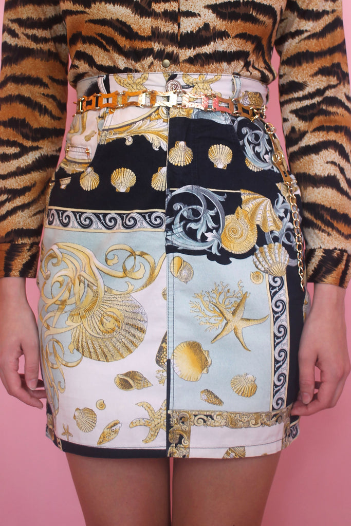 Blue & Gold Baroque Seashell Mini Skirt