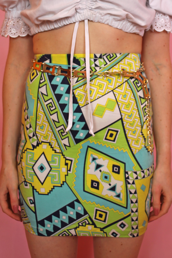 Blue & Green Funky Bodycon Skirt