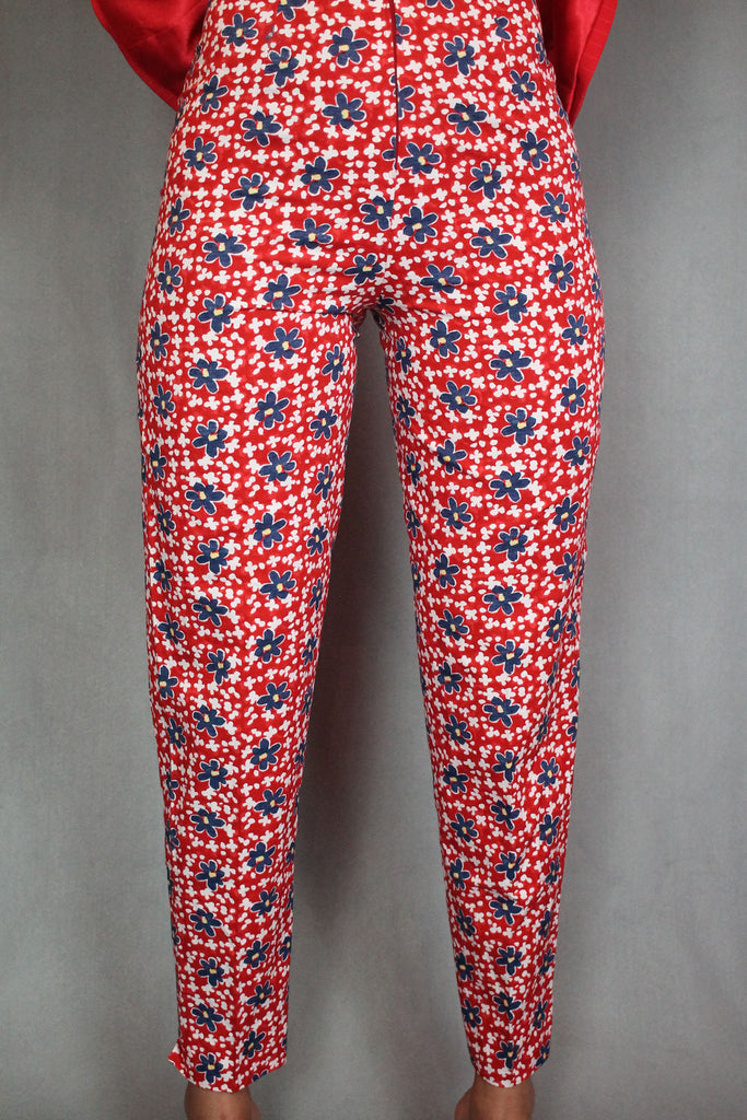 Red Floral High Waisted Trousers
