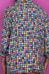 Rainbow Grid Print Shirt