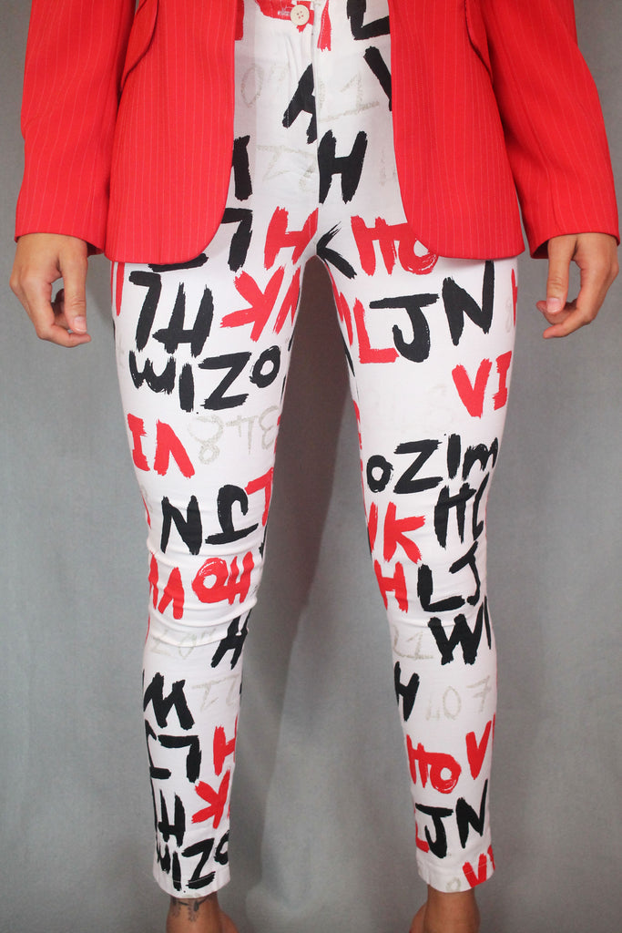 White, Red & Black Numbers and Letters Print Jeans