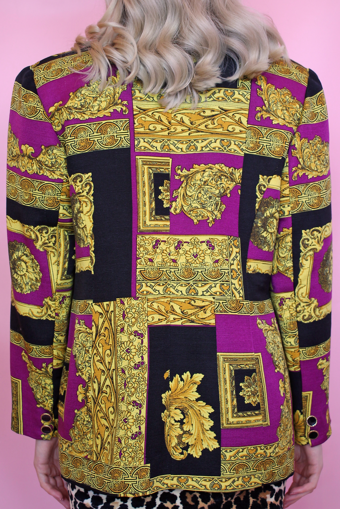 Purple & Gold Baroque Blazer