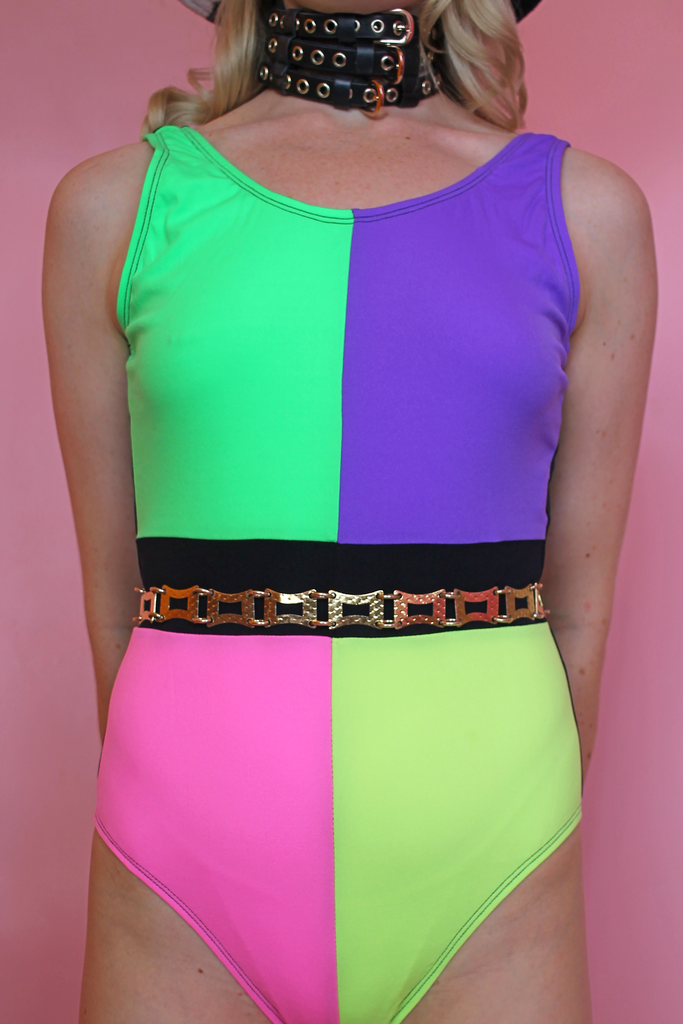 Colour Block Vintage Swimsuit