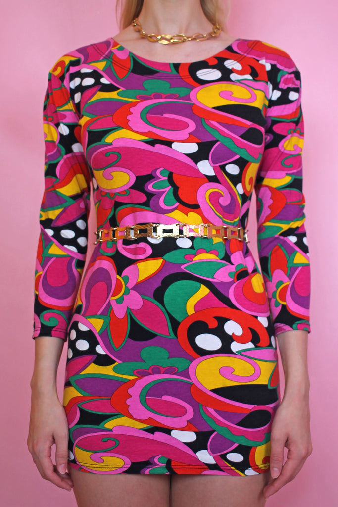Psychedelic Colourful Printed Mini Dress