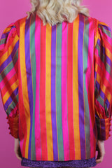 Rainbow Stripe Silk Power Shirt