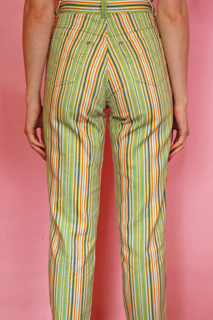 Lime Green & Orange Stripe Mom Jeans