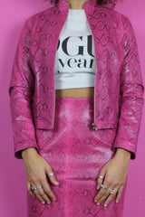00s Pink Faux Snakeskin Suit