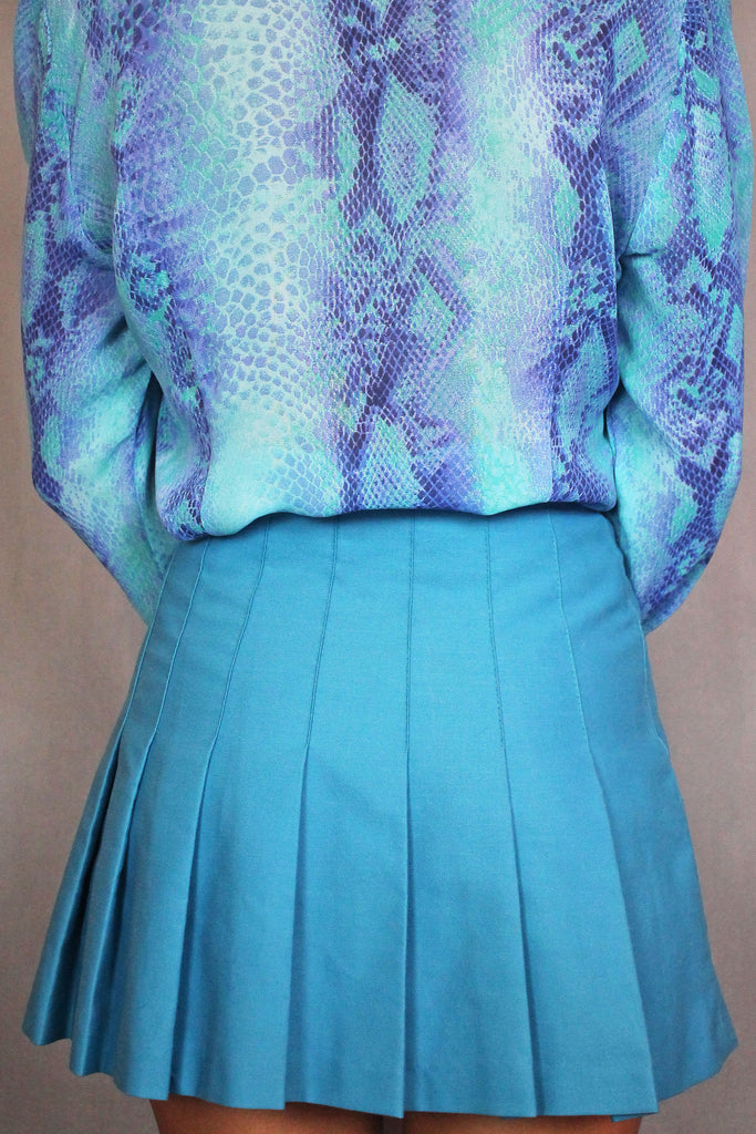 Bright Blue Tennis Pleated Skirt