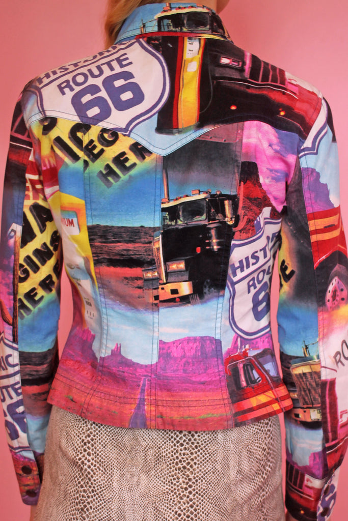 00s Route 66 Digital Print Colourful Jacket