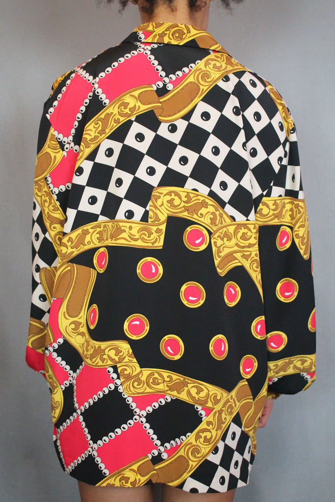 Red Black & Gold Baroque Checkered Shirt