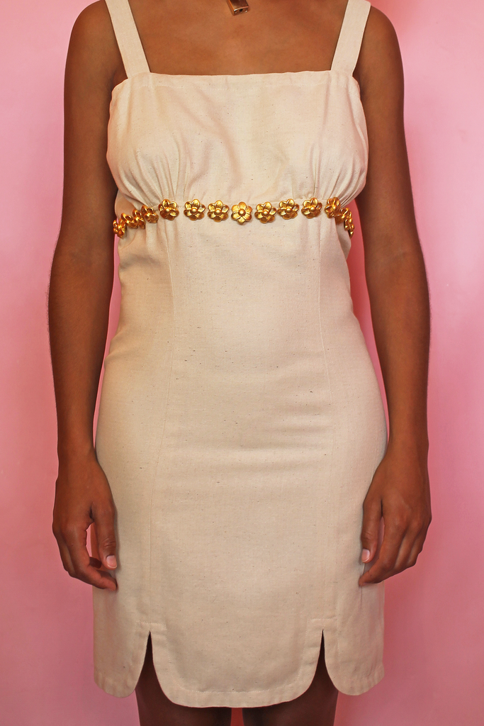 Cream & Gold Embellished Dress