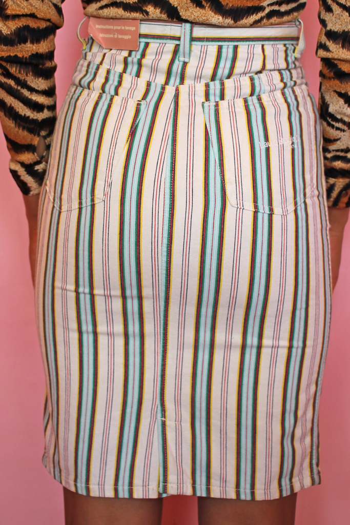 Cream & Rainbow Stripe Denim Skirt