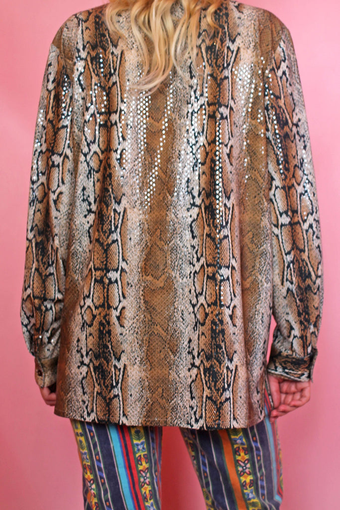 Sequin Snake Print Shirt