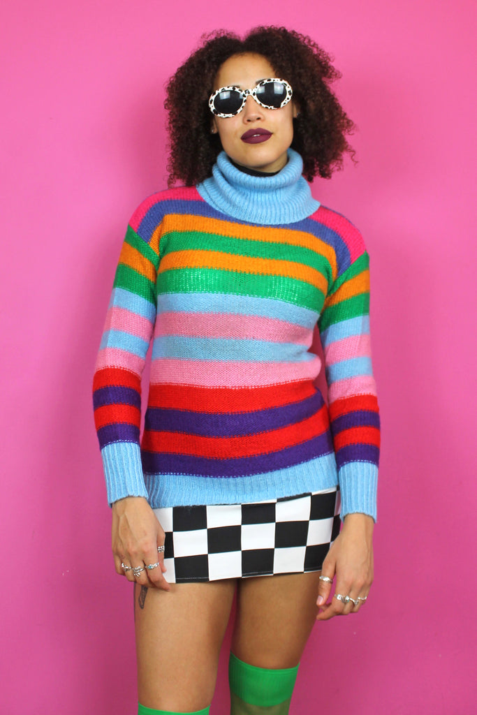 Rainbow Stripe Turtleneck Jumper