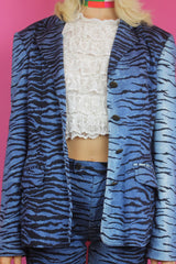 Vintage Moschino Blue Tiger Print Suit
