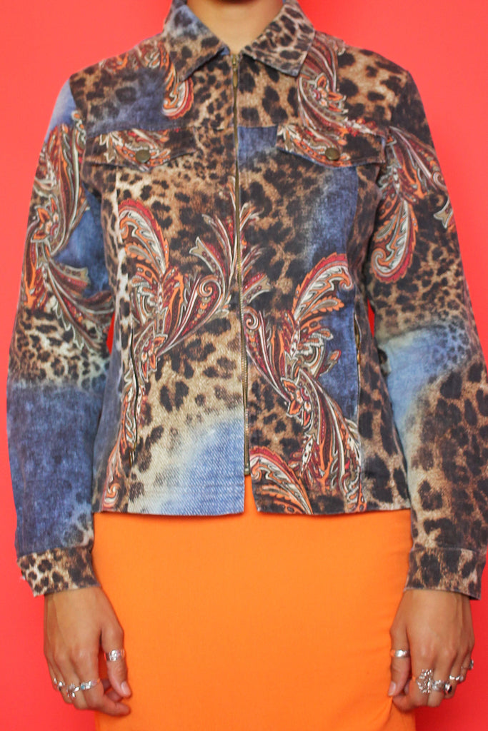 Denim Paisley & Animal Print Jacket