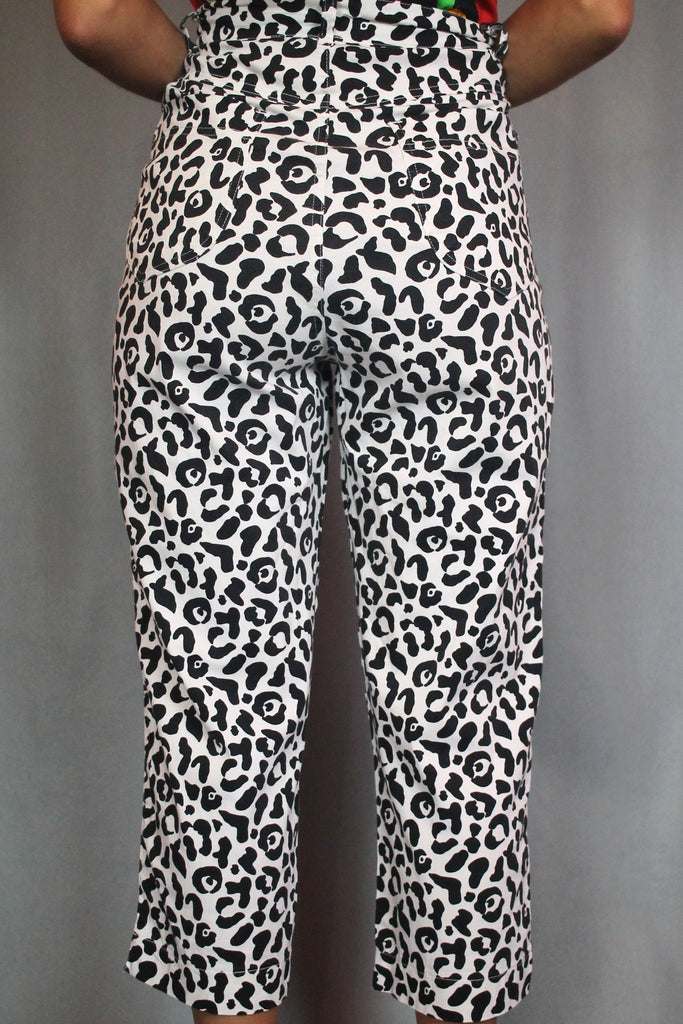 Black & White Leopard Print High Waisted Cropped Jeans